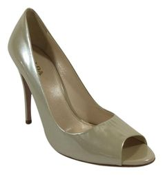 Prada Patent Leather Peep Toe Nude Pumps