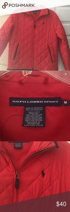 Ralph Lauren Soeing jacket like new! M Red Ralph Lauren spring quilted jacket with black trim. I have only worn it twice! Perfect condition was a gift not my style but beautiful Ralph Lauren Jackets & Coats