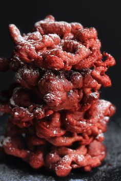 Red Velvet Funnel Cakes...really delicious and easy! Make sure to flip them after 5-10 seconds. They are better a bit soft. Yum!