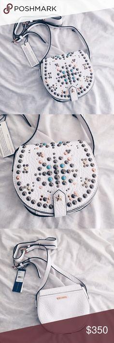 🎉🛍Host Pick🛍🎊Rebecca Minkoff Studded Handbag White Boho Handbag from Rebecca Minkoff! New with Tags! Never Worn! Rebecca Minkoff Bags Crossbody Bags