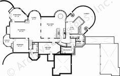 Basement to 7,618 sq. ft. castle house plan.