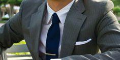mens grey pinstripe suit blue tie