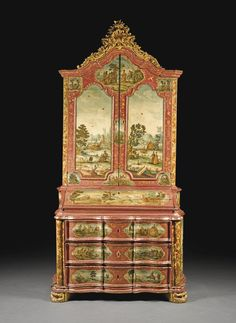 An Italian rococo carved giltwood, lacca povera and painted bureau cabinet,  mid-18th century