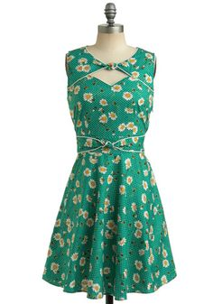 Good Ol' Daisy Dress by Trollied Dolly - Green, Multi, Yellow, White, Polka Dots, Floral, Bows, Cutout, Trim, Casual, Vintage Inspired, A-line, Sleeveless, Spring, Summer, Show On Featured Sale, Mid-length, Print, Fit & Flare, International Designer