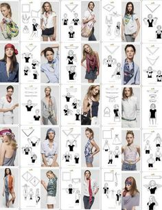 Ways to Tie a Scarf - Schal binden Ways To Tie Scarves, Ways To Wear A Scarf, How To Wear Scarves, Silk Scarves, Square Scarf How To Wear A, Metallic Scarves, Diy Fashion, Fashion Beauty, 1950s Fashion