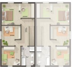 Wohnfl che Obergeschoss Granny Flat, Apartment Plans, House Rooms, House Plans, Floor Plans, Small Homes, How To Plan, Architecture, Houses