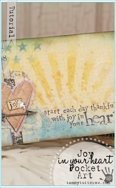 Tammy Tutterow Tutorial | Joy in Your Heart Pocket Art featuring Tim Holtz Distress Ink and Layering Stencils