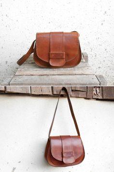 Vintage Vegetable Chestnut Brown Leather Bag // by VindicoShop, $68.00