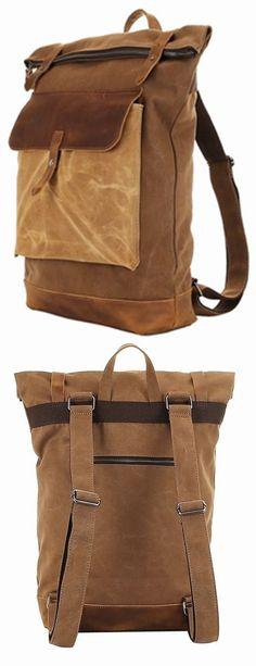Retro Vintage Canvas Leather School Shoulder Bag Travel #Backpack Rucksack Bag bagail.com