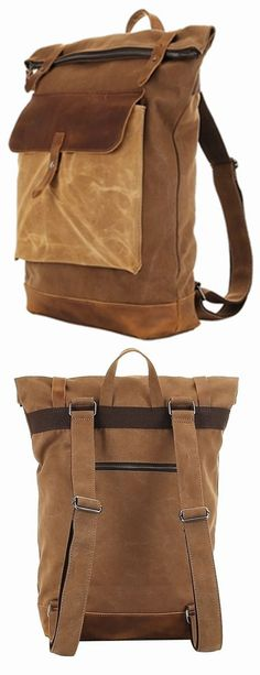 Retro Vintage Canvas Leather School Shoulder Bag Travel #Backpack Rucksack Bag bagail.com