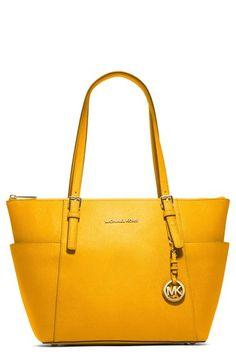 sunshine yellow Michael Kors 'jet set' leather tote http://rstyle.me/n/vjbpmr9te