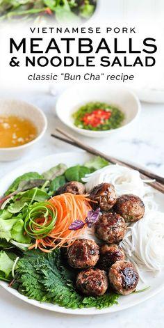 Bun Cha or Vietnamese Pork Meatballs with Vermicelli Noodle Salad #buncha #porkmeatballs #pork #noodles #vietnamese Easy Asian Recipes, Easy Homemade Recipes, Easy Dinner Recipes, Healthy Recipes, Vietnamese Noodle Salad, Vietnamese Pork, Bun Cha, Chicken Salad Recipes, Pork Recipes