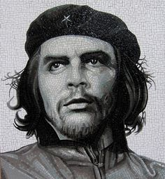 Drawing Sketches, Drawings, Drawing Faces, Sketching, Che Guevara, Mosaic Portrait, Mosaic Artwork, Mosaic Pieces, Aesthetic Art