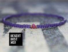 Men's rhodocrosite bracelet with violet frosted seed beads by DESERTDUSTMEN on Etsy