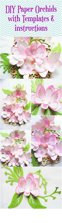 DIY Paper Flowers- DIY Orchid paper flower templates- Wedding Orchid Paper…