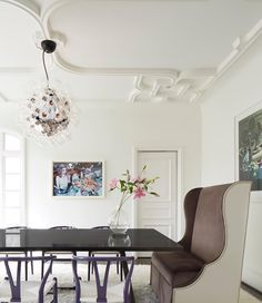 Love it when all 3 RVA services come together - Architecture, Interiors and Furniture Design - Julia Wood (Veltman Wood Interiors) and Ruard Veltman designs the Plaster Ceiling, Dining Table and Upholstered Host Chair -- Furniture by Veltman Meubles :: #ruardveltmanarchitecture #veltmanwoodinteriors #veltmanmeubles #customfurniture credit @mb_productions_nc Wishbone Chairs by @designwithinreach -- chandelier and art by fantastic owner
