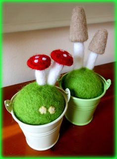 Miniature metal buckets with needle felted mushrooms by FeltByLiza, £10.00