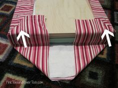 DIY/Good idea Upholstered footstool--envelope fold for nice corners The Iron Gazebo Article Body: Th Reupholster Furniture, Furniture Repair, Furniture Upholstery, Furniture Projects, Furniture Makeover, Diy Furniture, Diy Footstool, Upholstered Footstool, Ottoman