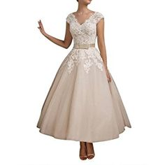 Bettertime Champagne Tulle Lace Tea Length Wedding Dresses Prom Gowns for Bride
