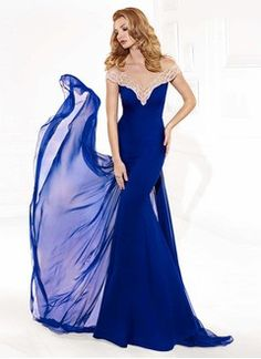 Trumpet/Mermaid Off-the-Shoulder Watteau Train Chiffon Evening Dress With Beading