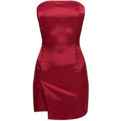 ideas dress bodycon casual body con for 2019 Bandeau Bodycon Dress, Bodycon Cocktail Dress, Satin Cocktail Dress, Cocktail Dresses, Bustier Dress, Red Satin Dress, Burgundy Dress, Satin Dresses, Dress Red