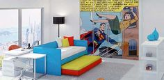 Forget a boy's room. Could I have this in my living room?? (Only Batman or maybe Thor? Or even Deadpool?) :) #superman