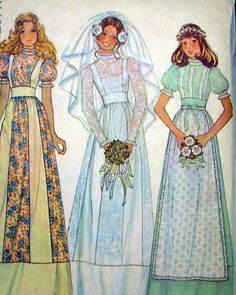 Bridal Dress Wedding Gown Pattern McCalls 4038 Romantic Bohemian Country Prairie Boho Styles Includes Bridesmaid Dress Vintage Sewing Pattern this is the pattern we used for our first Melody of Love outfit. 1974 my freshman year at Vennard College. Wedding Dress Patterns, Vintage Dress Patterns, Dress Making Patterns, Vintage Outfits, Vintage Dresses, Boho Fashion, Vintage Fashion, 70s Mode, Seventies Fashion