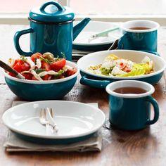 Emaye demlikli kahvaltı seti (mavi/yeşil/beyaz)