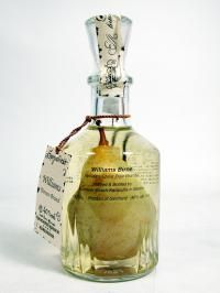 Williams Pear Brandy This pear grew naturally inside the bottle. Already in spring bottles are tied up with wires on pear trees. Pears then grow inside the bottle during the year. Make sure, that pear is always covered with KAMMER-WILLIAMS Alcohol Bottles, Vodka Bottle, Perfume Bottles, Liquor Bottles, Pear Brandy, Pear Tart, Pear Blossom, Cocktails, Pear Trees