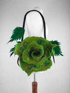 Felted Bag Flower Handbag Green Bag Nunofelt Purse wild Felt Nunofelt Nuno felt Silk Silkyfelted Eco handmade fairy floral fantasy shoulder bag Fiber Art