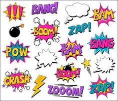 Girl Superhero Clipart Comic Book Speech Bubbles, Boom, Za