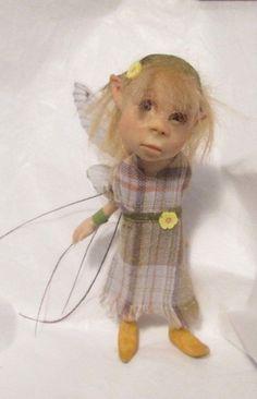 OOAK Fairy FAE WEE* Whimsy Pixie Art Doll Mini Faerie Sculpt Christel Hutson