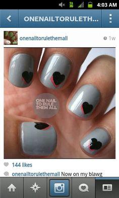 Gray Nails Black && Pink Nails