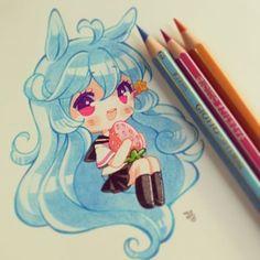 Painted with pencils giotto and plain paper n.n ♥♥ #tradicional #pencilgiotto #instadraw #instaanime #chibi #kawaii #usamimi #fresa #ichigo #seifuku