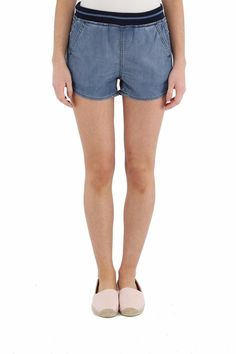 Chambray shorts are perfect for those hot summer days. A striped elastic waistband adds a sporty touch. Details include slant front pockets and welt back pockets. Machine Wash.   De Novak Shorts by Diesel. Clothing - Shorts Toronto, Canada