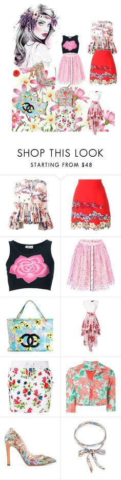 """Floral Design..**"" by yagna ❤ liked on Polyvore featuring MSGM, Krizia, Fendi, Chanel, Christian Pellizzari, Love Moschino, P.A.R.O.S.H., Ermanno Scervino, Chan Luu and vintage"