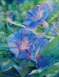 Morning Glories by Jeannie Vodden c 2012 Watercolour Painting, Watercolor Flowers, Watercolors, Painting Flowers, Watercolor Pictures, Art Floral, Painting Inspiration, Flower Art, Still Life