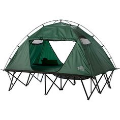 This versatile double tent cot makes camping hassle free. Its strong steel frame can hold up to 500-pounds, so you won't have to worry about it collapsing while you're in it, and it comes with a wheeled roller bag to help you carry it around.