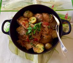 Braised chicken with caramelized onions.