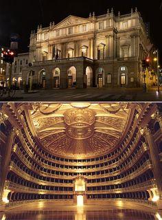 Teatro alla Scala costruito sulle rovine di una chiesa detta S.Maria alla scala su progetto di Piermarini