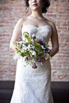 green purple white bridal bouquet- I like the style but would use some brighter colors like combo of white, yellow, purple, pink Spring Wedding Flowers, Purple Wedding, Floral Wedding, Wedding Bouquets, Wedding Trends, Wedding Designs, Wedding Ideas, Wedding Slippers, Lady Slipper Orchid