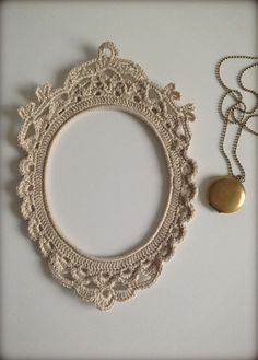 Crochet frame by HandKlappa on Etsy - Something similar would be really nice as a collar to a poncho. ~ Sheila