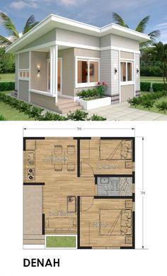 House Floor Design, Bungalow House Design, Tiny House Design, House Layout Plans, Small House Plans, House Layouts, Minimal House Design, Simple House Design, House Design Pictures
