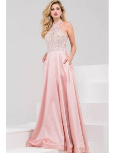 A-Line Halter Beaded Long Pink Prom Dresses 602200