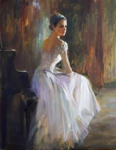 "Daily Paintworks - ""Ballerina ( 19 )"" - Original Fine Art for Sale - © Kelvin Lei Ballet Painting, Ballet Art, Figure Painting, Ballerina Kunst, Portraits From Photos, Sad Art, Mystique, Dance Art, Dance Photography"