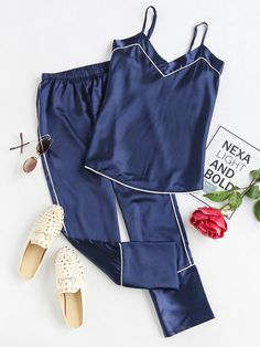 SheIn offers Satin Contrast Binding Cami Pajama Set & more to fit your fashionable needs. Source by - Satin Pyjama Set, Satin Pajamas, Pyjamas, Pajama Set, Cute Sleepwear, Lingerie Sleepwear, Nightwear, Woman Outfits, Fashion Outfits