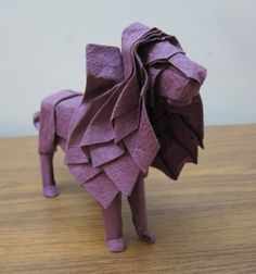 lion origami, I'll never make this, I just like to look at it from time to time