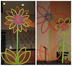 Giant Pool Noodle Flowers....this would be cute by the pool!