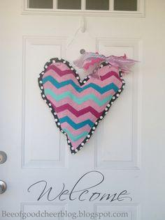 Bee of Good Cheer: Valentine Burlap Door Hanger