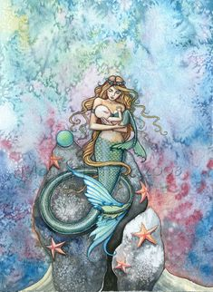 Love Eternal Mermaid Mother and Baby Fine Art Print by Molly Harrison